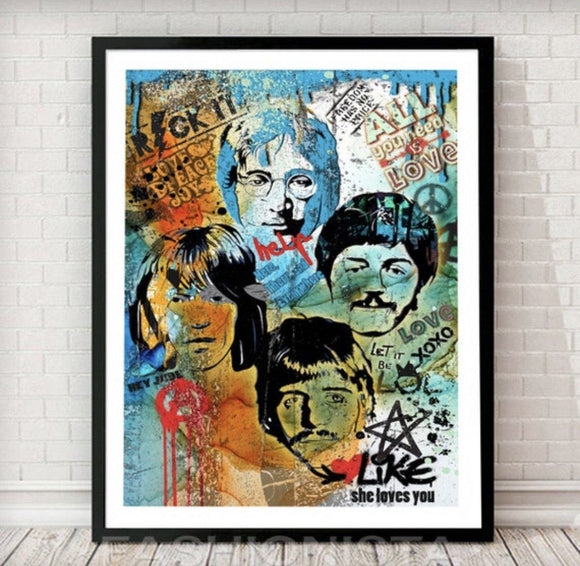 Beatles Pop Graffiti Art Print - Rock Salt Prints