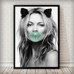 Kate Moss Butterfly Bubblegum Fashion Art Print - Rock Salt Prints