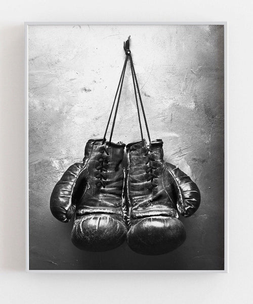 Boxing Gloves Monochrome Fashion Art Poster - Rock Salt Prints