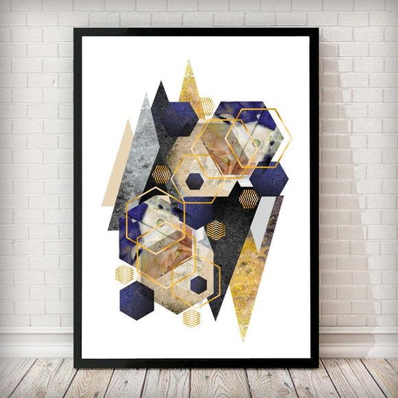 Reflection Mountains Gold Navy Grey Marble Abstract Art Print - Rock Salt Prints