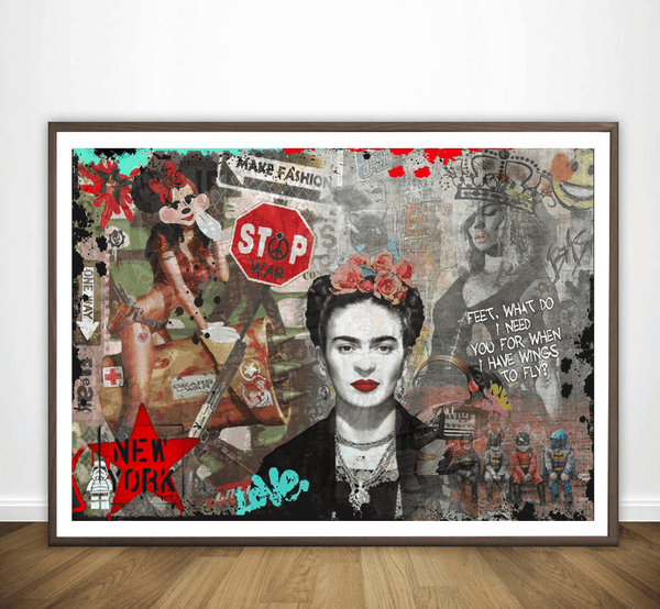 Frida Kahlo Graffiti Pop Iconic Fashion Art Print - Rock Salt Prints Ltd
