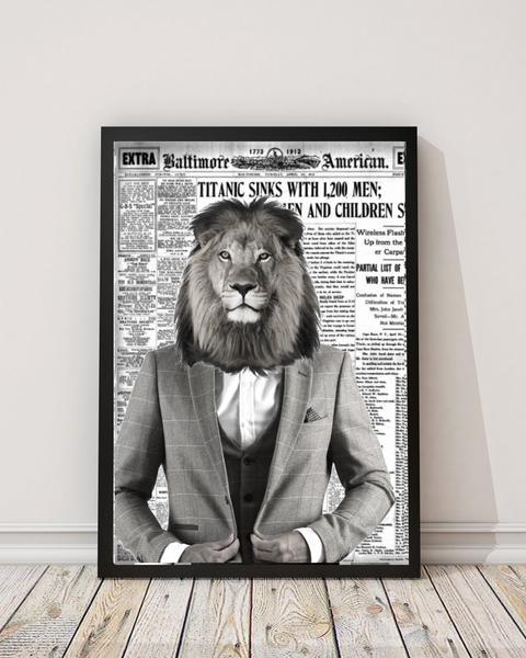 Lion Gentleman - Old News Paper Art Print - Rock Salt Prints Ltd