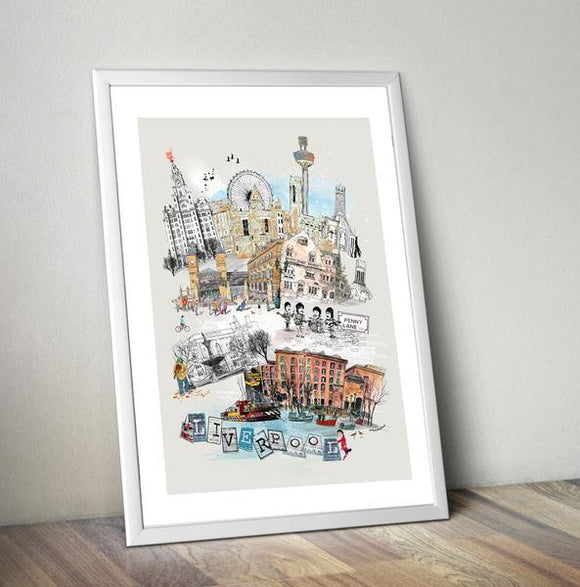 Liverpool Retro City Print - Rock Salt Prints
