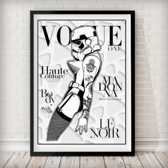 VOGUE Cover - Stormtrooper Madonna White 3D Star Wars Art Print - Rock Salt Prints Ltd