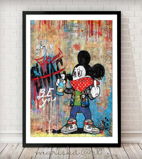 Cartoon 004 Mixed Media Canvas Print Graffiti Pop Art - Rock Salt Prints