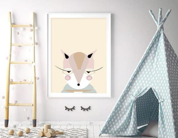 Miss Squirrel Nursery Art Print - Rock Salt Prints Ltd
