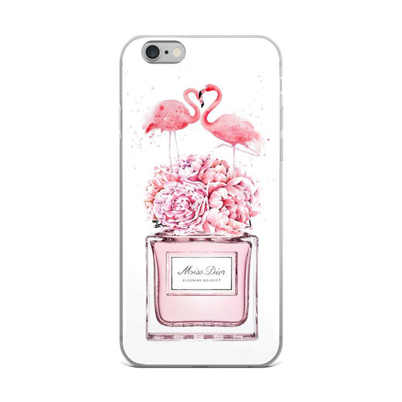 Miss Diva Perfume Bottle and Flamingos iPhone Case - Rock Salt Prints Ltd