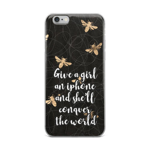 Give a girl an iPhone and she'll conquer the world iPhone Case - Rock Salt Prints Ltd