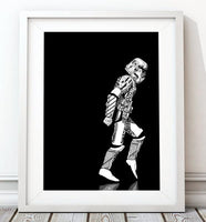 Moonwalker Star Wars Poster, Stormtrooper Art Print - Rock Salt Prints Ltd