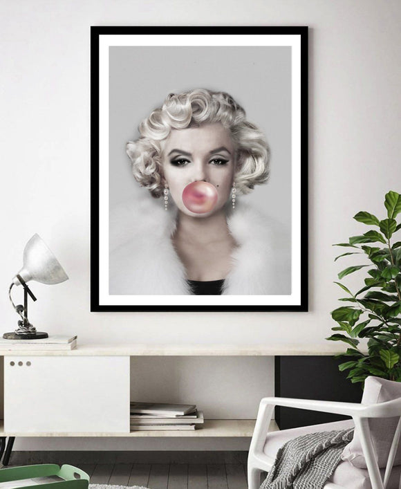 NEW IN - Marilyn Monroe Hollywood Portrait + BUBBLE GUM Iconic Fashion Art Print - Rock Salt Prints Ltd