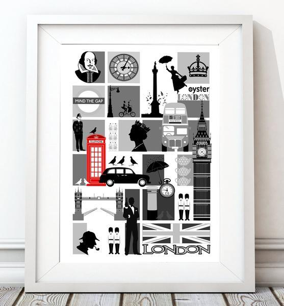 London Mosaic City Print/Black and White - Rock Salt Prints Ltd