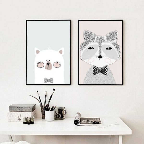 Portrait of Mr. Raccoon Nursery Art Print - Rock Salt Prints Ltd