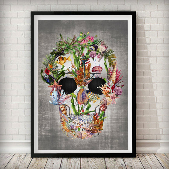 Sea Skull Nature Home Art Print - Rock Salt Prints Ltd