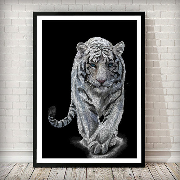 Snow Tiger Confetti Animal Art Print - Rock Salt Prints Ltd