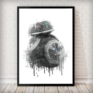 Dripping Star Wars Poster, BB9-E Droid Art Print - Rock Salt Prints Ltd