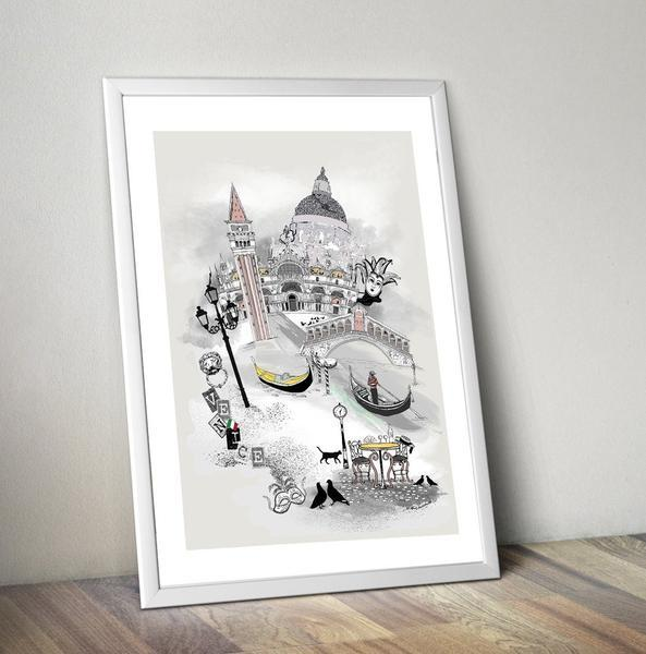 Venice Retro City Print - Rock Salt Prints Ltd