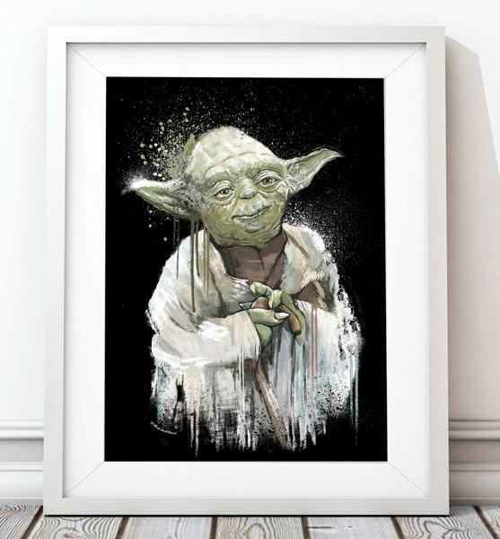 Dripping Star Wars Poster, Yoda Art Print - Rock Salt Prints Ltd