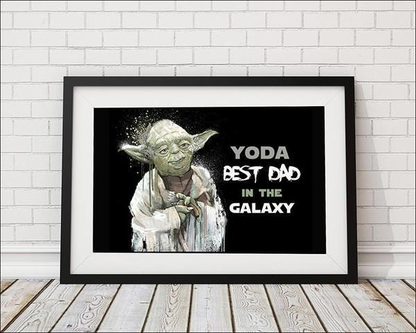 2f9b7a407 Yoda Best Dad in the Galaxy - Black Art Print, Star Wars - Rock Salt