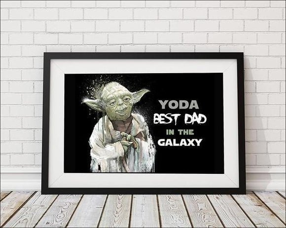 Yoda Best Dad in the Galaxy  - Black Art Print, Star Wars - Rock Salt Prints Ltd
