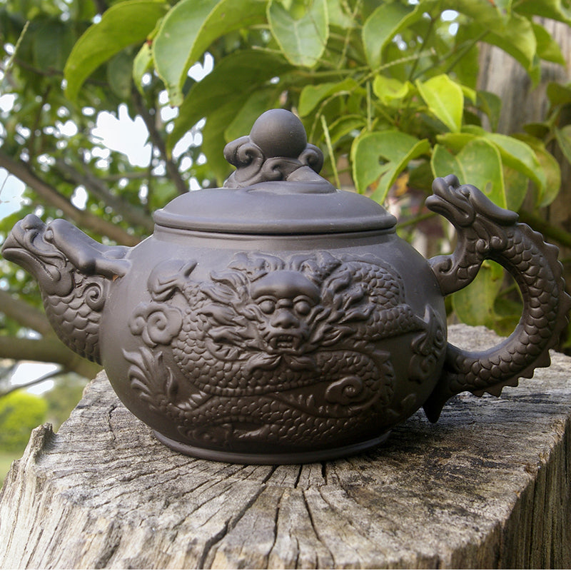 Dragon Yixing Teapot, Purplesand Porcelain, 380 ml Capacity