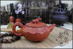 Lotus and Frog Yixing Teapot, Handmade, Purple Sand Porcelain