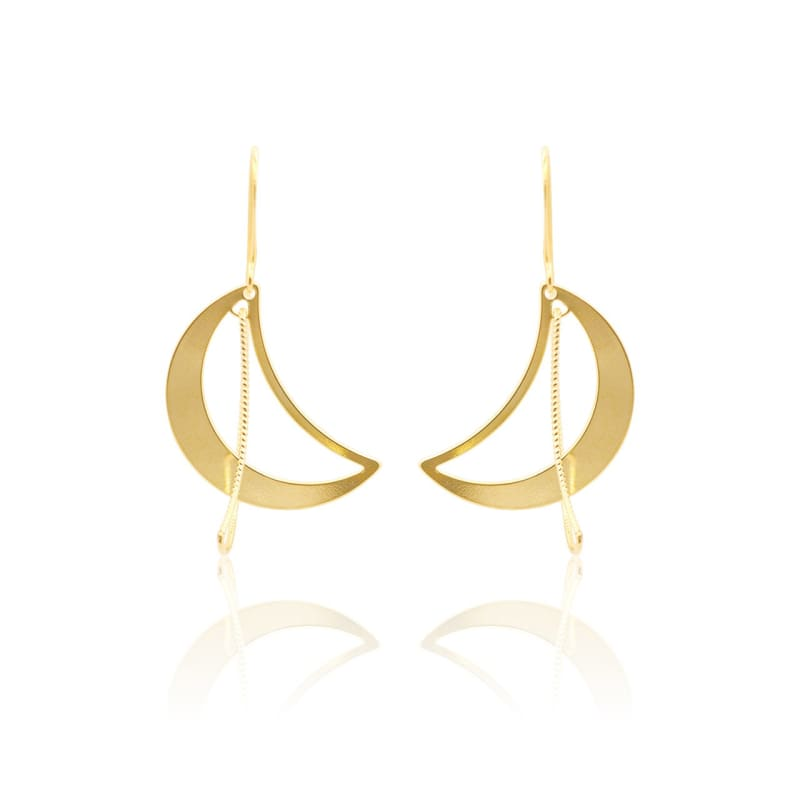 3 D Moon Earrings - Gold earrings