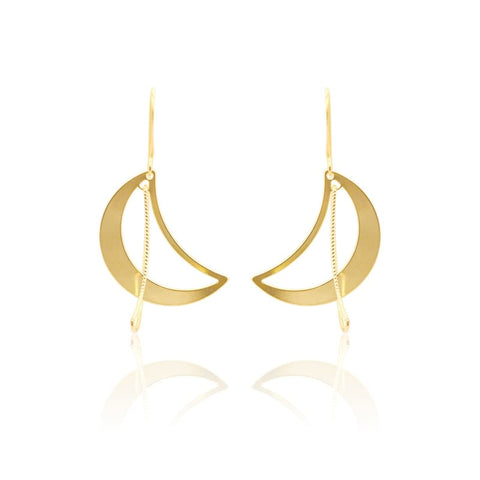 Crescent Moon Crystal MINI Stud Earrings - Gold