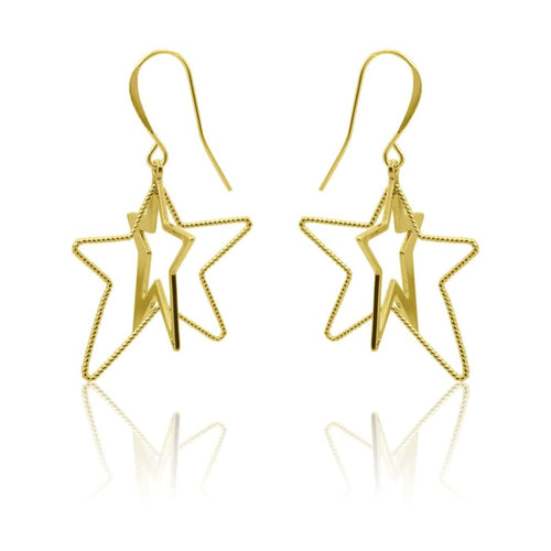 3 D Star Earrings - Gold earrings