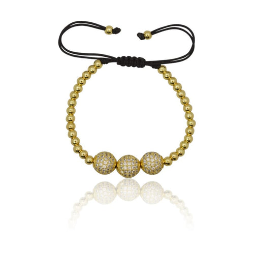 3 pc Crystal Ball Macrame Bracelet - Gold