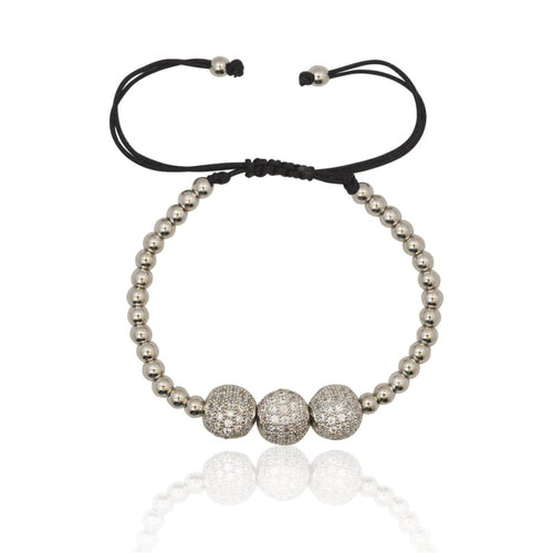 3 pc Crystal Ball Macrame Bracelet - Silver