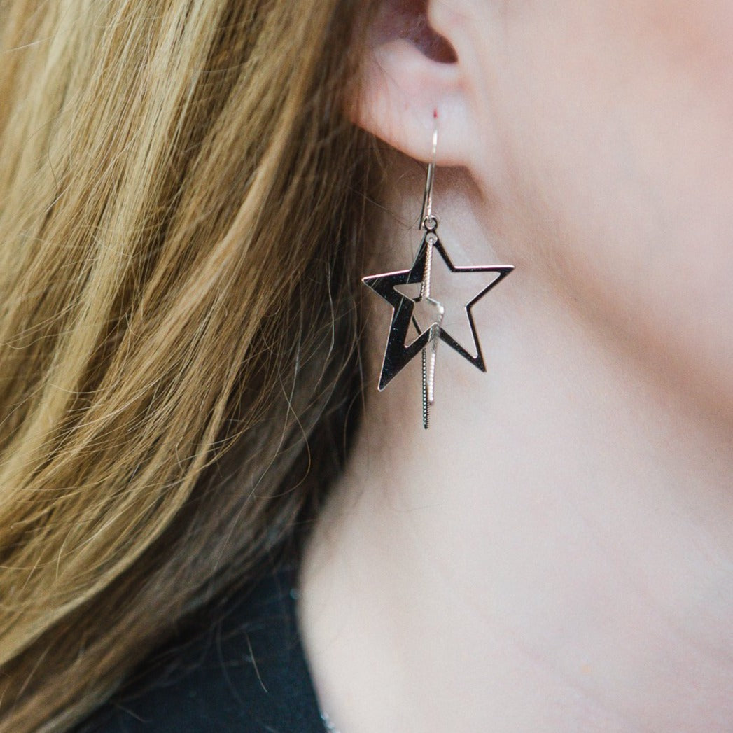 3 D Star Earrings