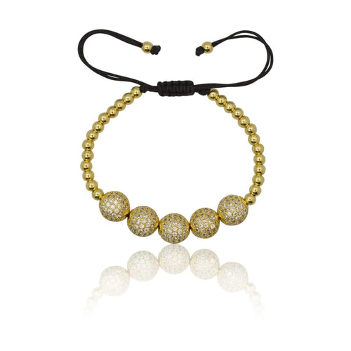 5 pc Crystal Ball Macrame Bracelet - Gold