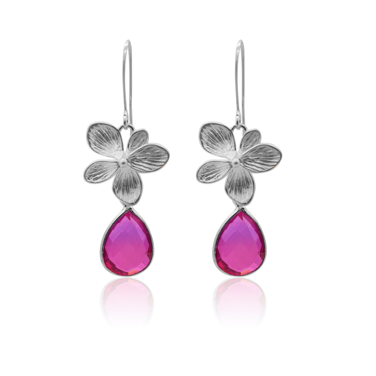 Pink Aura Single Bloom Plumeria Earrings