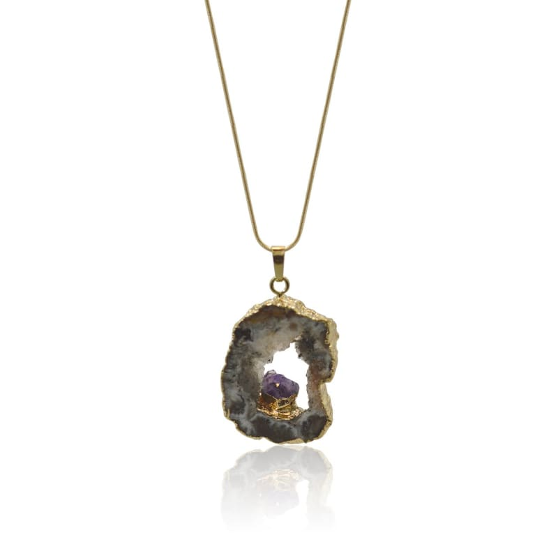Agate Geode Necklace With Amethyst 18 Neckalce