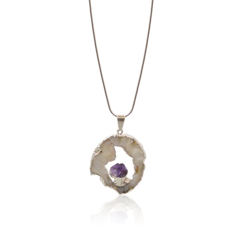 Agate Geode Necklace With Amethyst - Silver Necklace