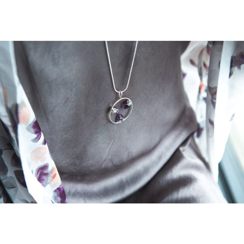 Amethyst Amulet - Silver Necklace