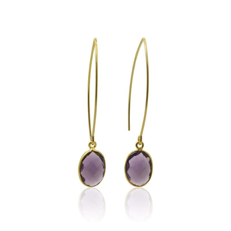 Amethyst Bezel Drop Earring - Gold Hydro Quartz Earrings