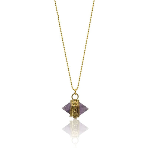 Amethyst Chakra Crystal - Long Gold Necklace Necklace