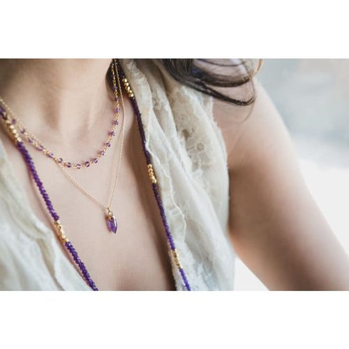 Amethyst Double Strand Spike Necklace - Gold Necklace