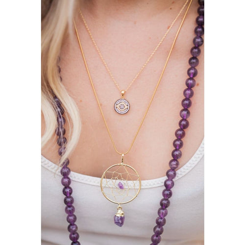 Amethyst Dream Catcher Necklace Necklace