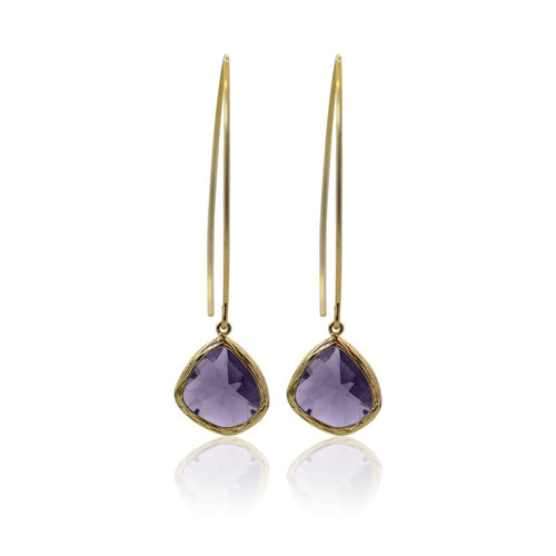 Amethyst Elegant Long Earrings - Gold Earrings