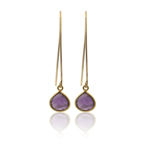 Amethyst Mini Spike Earrings - Gold Hydro Quartz