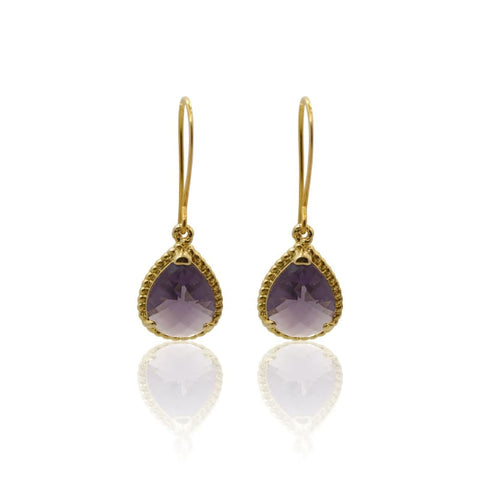 Amethyst Athena - Gold Earrings