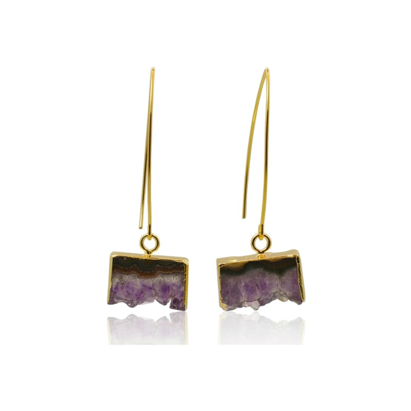 Amethyst Geode Earrings - Gold Earrings