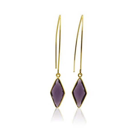Amethyst Elegant Long Earrings - Silver