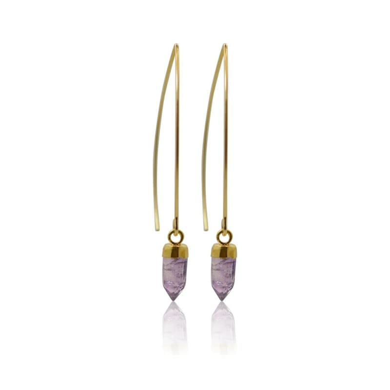 Amethyst Mini Spike Earrings - Silver Earrings