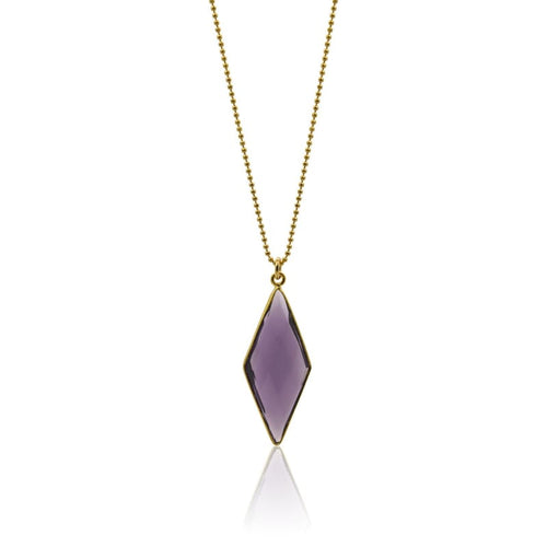 Amethyst Spike Necklace - Gold Hydro Quartz Necklace