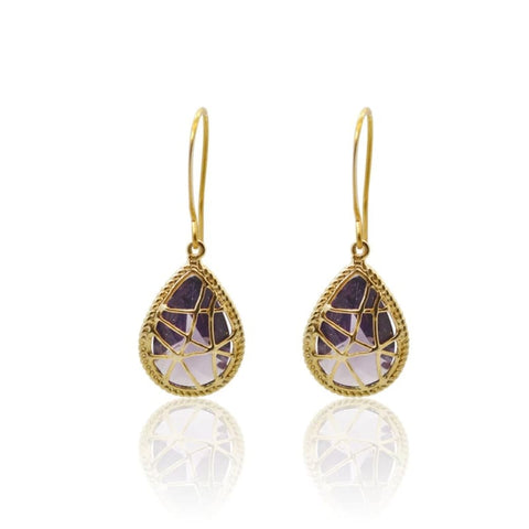 Amethyst Elegant Long Earrings - Gold