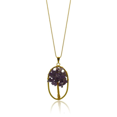Amethyst Tree Of Life Necklace - Gold Necklace