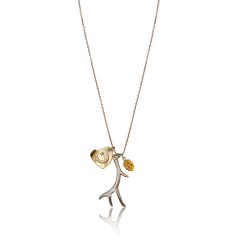 Antler Multi-charm 4pc Necklace - Silver